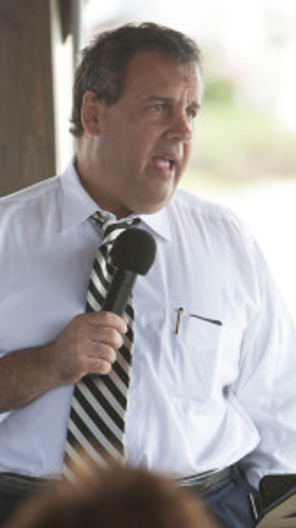 Gov. Chris Christie talks about pension reform during town hall meeting on Long Beach Island.  Staff photo by Bob Bielk