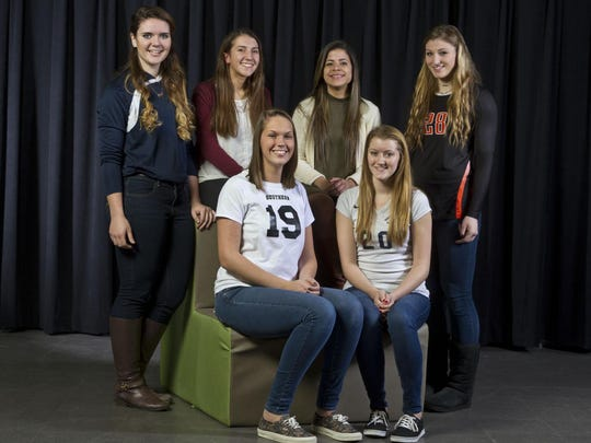 The 2015 All-Shore Girls Volleyball Team of (front row) Alexa Cacacie and Aubrey Binkley; (back row) Grace Kenningham, Jess Stansfield, Gaby Merced and Amy Bruno.