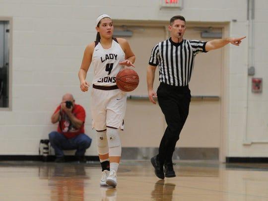 Brownwood guard Mallory Garcia (4) brings the ball