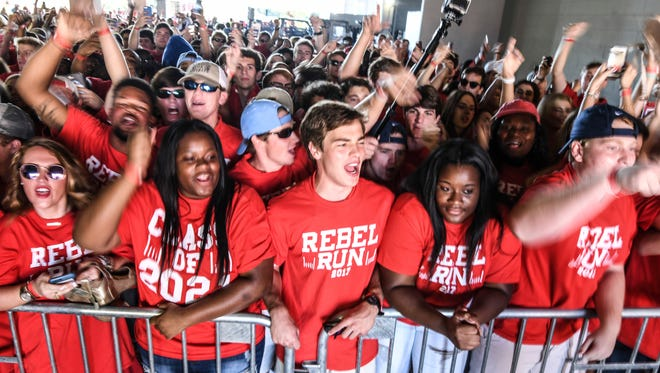 University of Mississippi freshmen cheer before running onto the field before an NCAA college football game against UT Martin at Vaught-Hemingway Stadium in Oxford, Miss. on Saturday, Sept. 9, 2017. (Bruce Newman/The Oxford Eagle via AP)