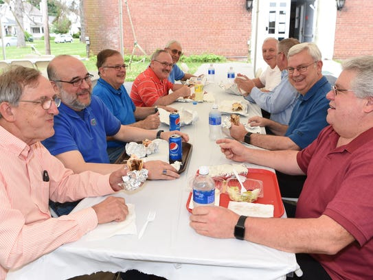 Locals enjoy lunch at the annual Greek Festival at