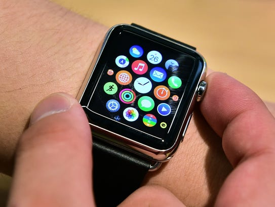 "This June 26, 2015 file photo shows an ""Apple Watch"""