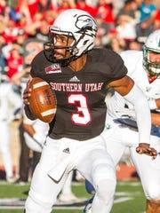 Southern Utah quarterback Patrick Tyler (3) looks to