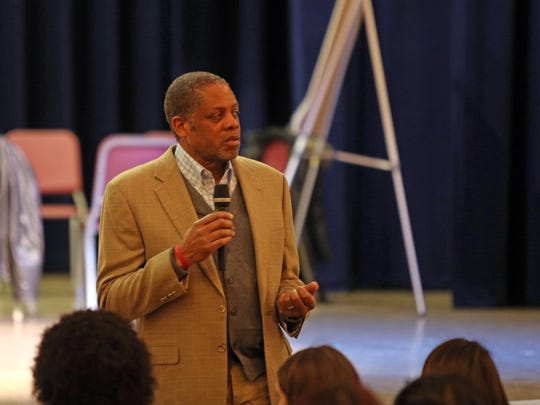 Randolph Carter, Education Management Consultant and Contractor opens up the community forum on East Ramapo issues at Green Meadow Waldorf School on Feb. 11, 2015 The forum is to facilitate discussion for students and adults in separate rooms.