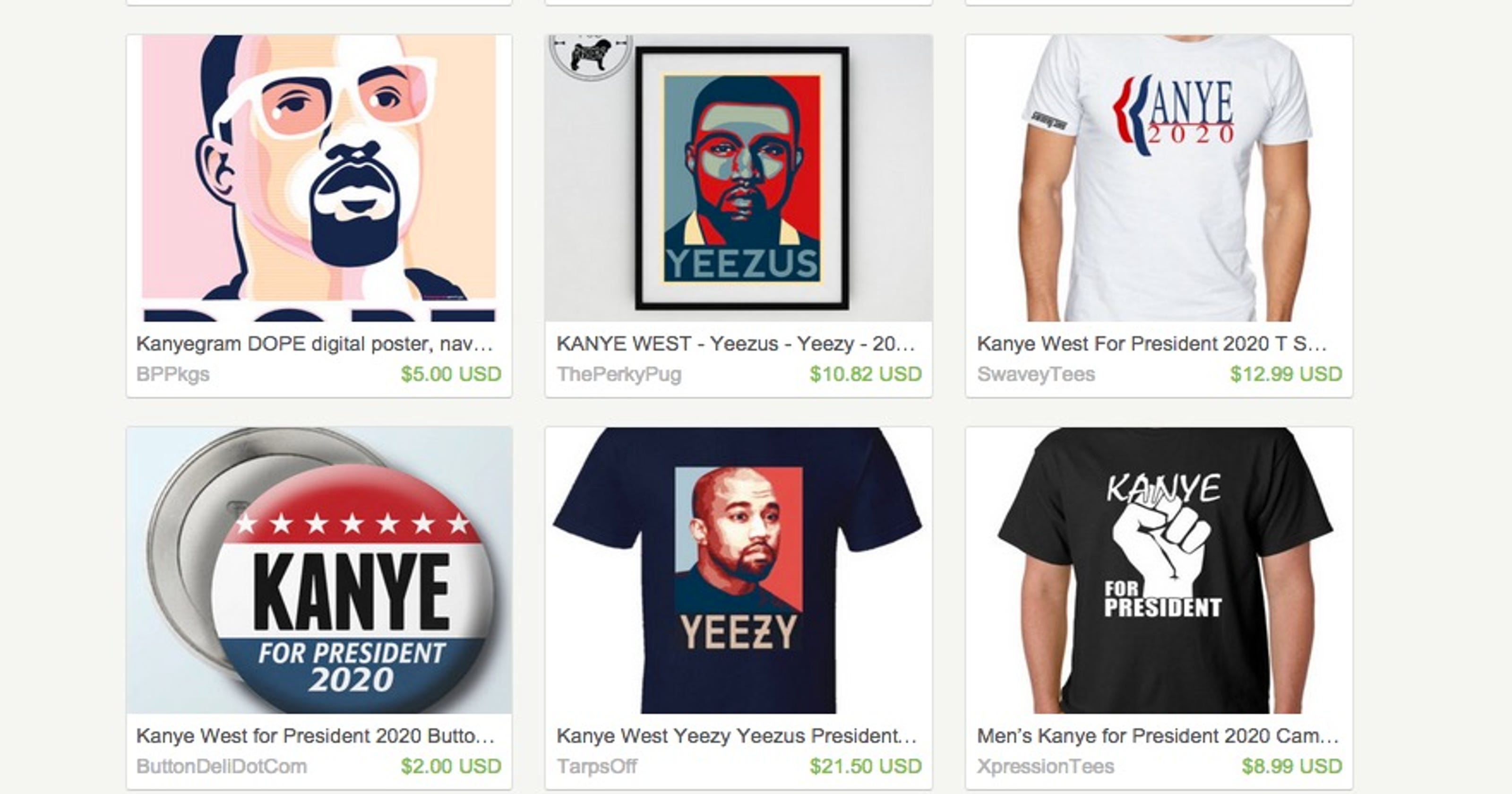 ce990bc7 You can now buy 'Kanye for President 2020' merch, thanks to Etsy