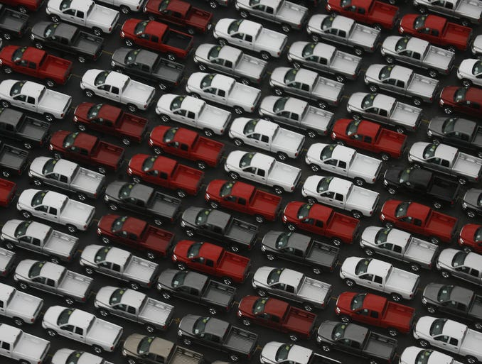 Vehicles are lined up at Chrysler's Warren Truck Assembly Plant on Sept. 19, 2006, in Detroit.