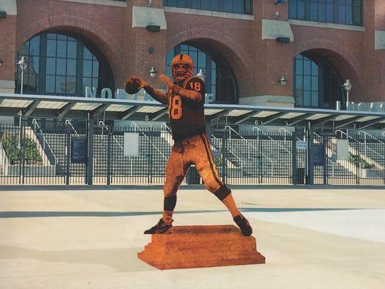 Illustration of a statue of former Colts quarterback