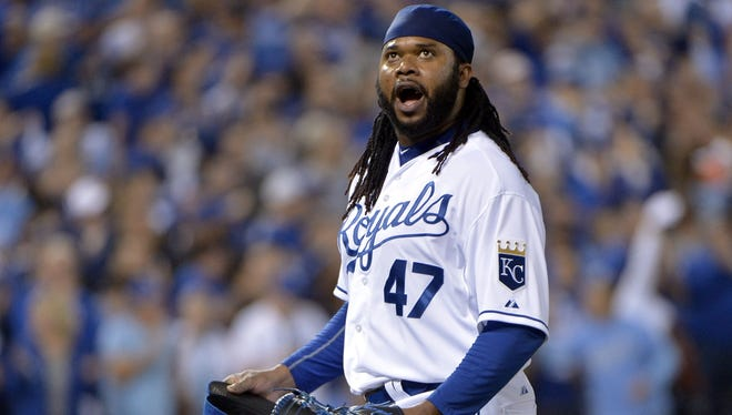 Former Red Johnny Cueto earned the win in Game 5 of the ALDS on Wednesday.