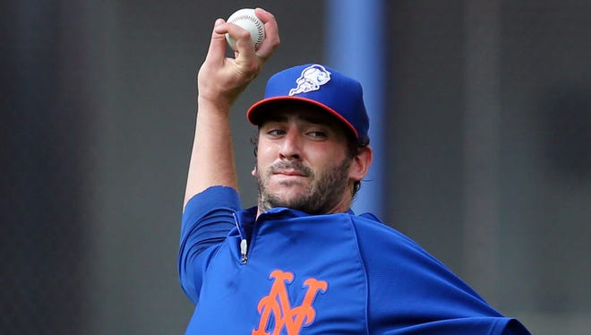 Mets pitcher Matt Harvey has been throwing off flat ground in his return from elbow surgery last year. He was 9-5 with a 2.27 ERA before the injury ended his 2013 season.