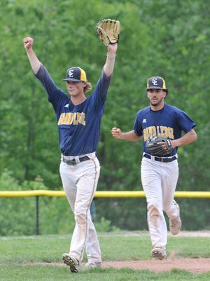 Grand Ledge pitcher Wyatt Rush celebrates the win over East Lansing 4-3 in the district final Saturday, June 3, 2017.