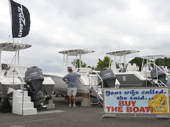 Consumers who buy boats in New Jersey would see their sales tax cut in half under a proposal by Gov. Chris Christie. This 2014 file photo shows the 6th annual Jersey Shore Boat Sale & Expo at FirstEnergy Park in Lakewood.