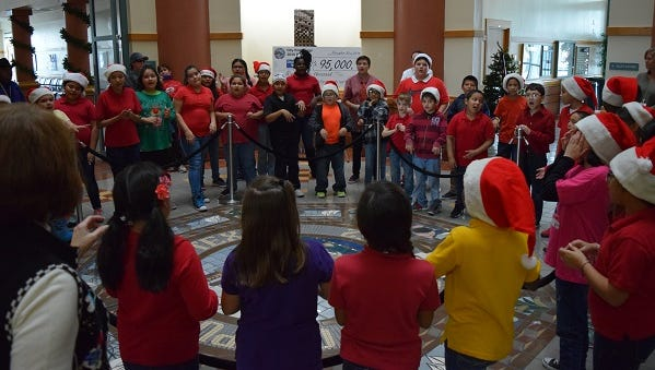 About 45 Kostoryz Elementary choir students performed Christmas classics at City Hall Dec. 7, 2016.