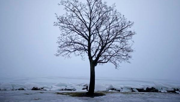 Warm temperatures bring melting snow, ice pushing to the shore and fog on Jan. 22, at Riverside Park in Neenah, Wisconsin.