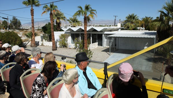 Architecture enthusiasts take part in the  Modernism Week bus tour in Palm Springs.