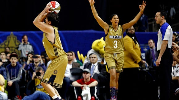 Los Angles Sparks center Candace Parker reacts as Dallas