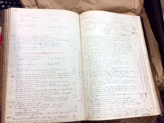 Ledger pages that date back to 1882 contains the clients