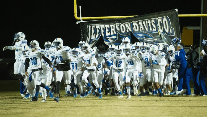 Jefferson Davis County takes the field prior to the MHSAA Playoff game between Jefferson Davis County and Hazelhurst on Noevember 24, 2017.