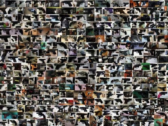 A collage of the record number of 3,957 guns the Transportation
