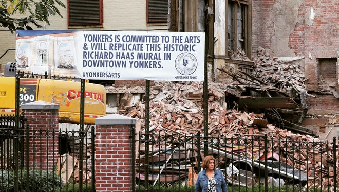 A Richard Haas mural was demolished along with a building at 36 Main Street in Yonkers but will be replicated in the downtown area, in this photo shot Oct 8, 2016.