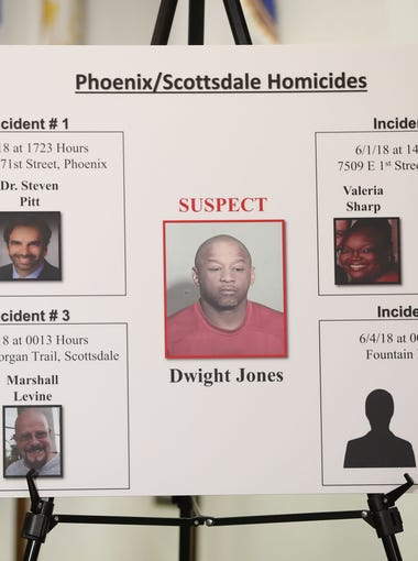A board is shown linking Dwight Jones to six victims at a joint press conference at the Scottsdale Police Department Headquarters June 4, 2018. Jones, suspected of murdering six people over several days, was found dead at a Scottsdale hotel.