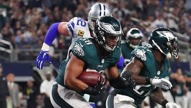 Jordan Hicks of the Philadelphia Eagles intercepts a pass intended for Brice Butler #19 of the Dallas Cowboys in the second quarter during a game between the Dallas Cowboys and the Philadelphia Eagles at AT&T Stadium on October 30, 2016 in Arlington, Texas.