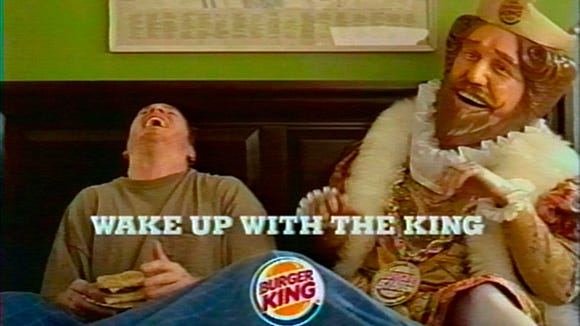 A 2005 TV ad showing the Burger King visiting customers