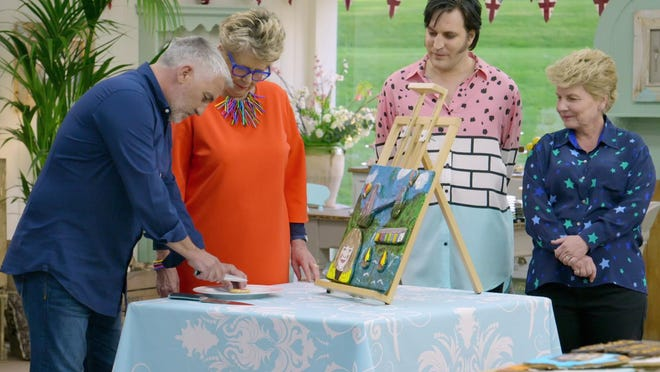 """The Great British Baking Show: Collection 6"" stars, from left, Paul Hollywood, Prue Leith, Noel Fielding and Sandi Toksvig."