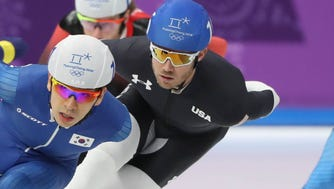 Speedskater Joey Mantia was one of those Americans who took a fourth in the Olympics, this in the mass start.