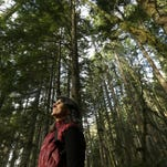 Paula Swedeen, a forest policy specialist for the Washington Environmental Council, walks through forest land adjacent to Mount Rainier National Park near Ashford, Wash.