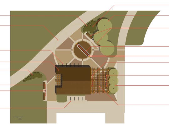 A graphic showing what the Wade Franck Memorial Plaza could look like at the Ankeny Market Pavilion.