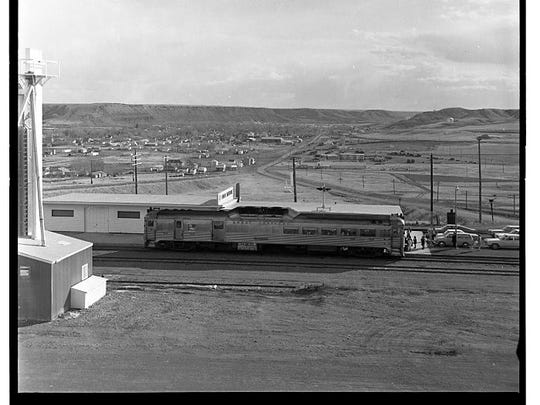 This May 29, 1971 photo shows passengers getting on the Budd Car in Fort Benton..