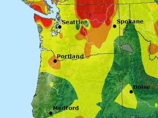 Air quality index as of Wednesday morning. Areas in orange are rated 'unsafe for sensitive groups.'