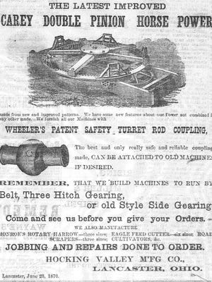 This ad for the Hocking Valley Manufacturing Co. was one of the first to appear in a local newspaper. It appeared in The Lancaster Gazette on June 23, 1870.