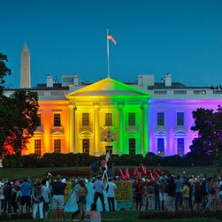 The White House is illuminated with rainbow colors June 26, 2015, the day a Supreme Court ruling legalized same-sex marriage in the United States.