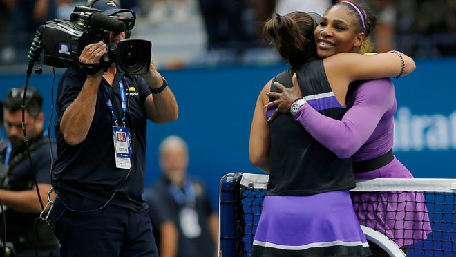 Serena Williams, of the United States, congratulates Bianca Andreescu, of Canada, after losing to Andreescu in the women's singles final of the U.S. Open tennis championships Saturday, Sept. 7, 2019, in New York. (AP Photo/Eduardo Munoz Alvarez)