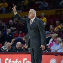 Jan 28, 2015; Tempe, AZ, USA; Oregon State Beavers head coach Wayne Tinkle looks on against the Arizona State Sun Devils at Wells-Fargo Arena. Mandatory Credit: Joe Camporeale-USA TODAY Sports