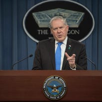 Under Secretary of Defense for Acquisition, Technology and Logistics Frank Kendall conducts a briefing on innovation and Better Buying Power 3.0 at the Pentagon April 9, 2015.