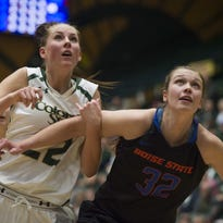 The CSU women's basketball team edged Boise State in Fort Collins in January, pictured. The Rams play at Boise State on Wednesday.