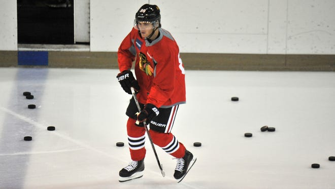 Chicago Blackhawks Patrick Kane skates during training camp at the Compton Family Ice Center on the campus of the University of Notre Dame.