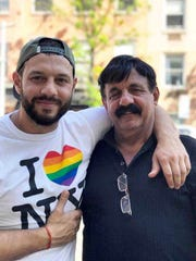 """One of the men interviewed for Tim Clausen's new book is Matthew Shurka, a gay activist from Brooklyn, N.Y. He is pictured here with his father, who is not named in the book, at last summer's New York City Pride parade. Photo reprinted from """"Not the Son He Expected: Gay Men Talk Candidly About Their Relationship with Their Father."""""""