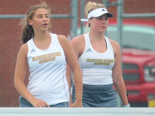 Notre Dame teammates Isabelle Bailey, left, and Josephine
