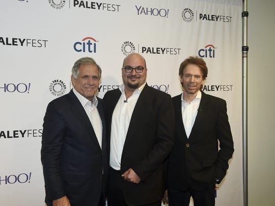 CBS CEO Leslie Moonves, left, joins 'CSI' creator Anthony