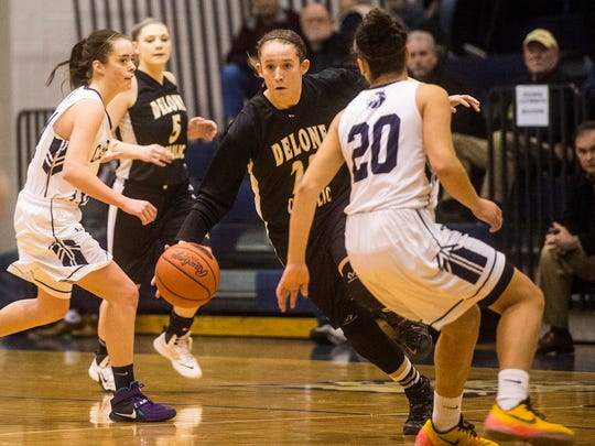 Delone Catholic's Ally Shipley takes control of the ball during the game against Camp Hill in a District 3 Class AA semifinal at Dallastown High School on Feb. 22, 2016.