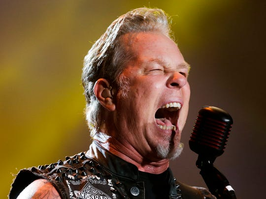 FILE - In this Sept. 20, 2015 file photo, James Hetfield of Metallica  performs at the Rock in Rio music festival in Rio de Janeiro, Brazil.