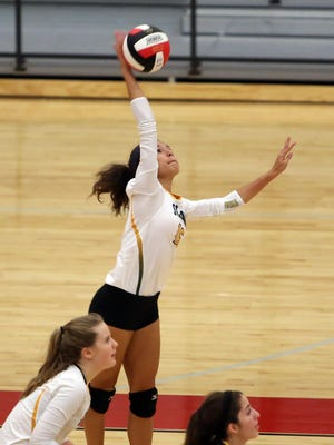 Sycamore's Makayla Stover goes up for a spike in the Aviators' win over Princeton Thursday.