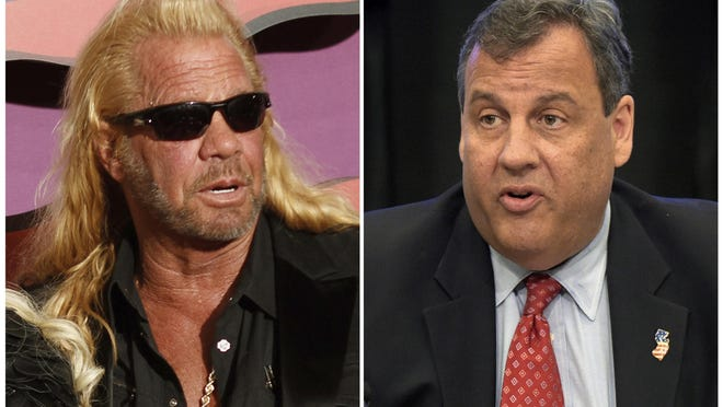 """In this combination photo, Duane Chapman arrives at the CMT Music Awards on June 4, 2014, in Nashville, Tenn., left, and New Jersey Gov. Chris Christie, chairman of the President's Commission on Combating Drug Addiction and the Opioid Crisis, speaks on June 16, 2017, in Washington. Christie has shut down any prospect of meeting with the former star of """"Dog the Bounty Hunter"""" over the state's bail reform. Chapman was in Trenton on Monday, meeting with lawmakers to discuss bail reforms that went into effect this year. Christie supports the state's new system in which courts rate defendants to determine security risks . (AP Photo/Wade Payne/Invision/AP, left, and Susan Walsh, File)"""