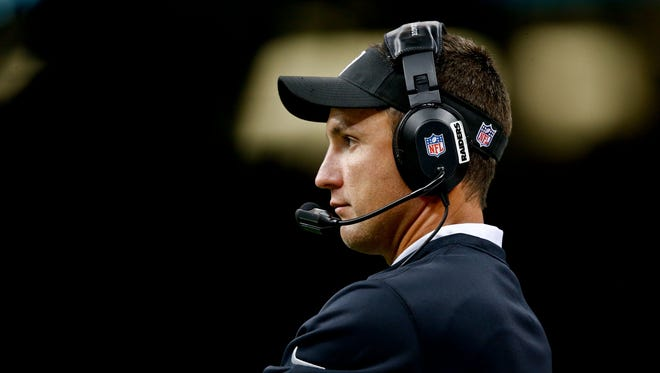 Aug 16, 2013; New Orleans, LA, USA; Oakland Raiders head coach Dennis Allen against the New Orleans Saints during the second half of a preseason game at the Mercedes-Benz Superdome. The Saints defeated the Raiders 28-20.