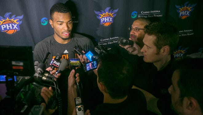 T.J. Warren meets with the media on July 8, 2015.