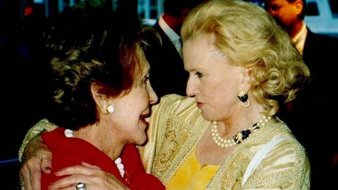 From left, Nancy Reagan and Marylou Whitney Hendrickson at a 2002 dinner party aboard Malcolm Forbes' Highlander. Art from Mrs. Whitney Hendrickson's collection will be auctioned by Sotheby's.