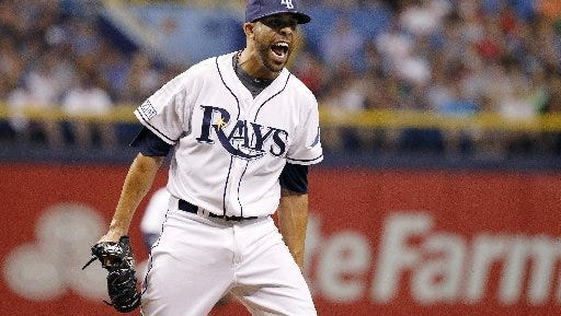 David Price -- then with the Tampa Bay Rays -- reacts after striking out a Red Sox player last season.